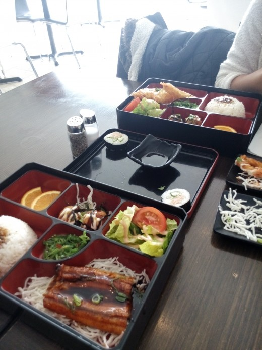 Closest to furthest: Unagi bento, sushi, tempura prawn bento