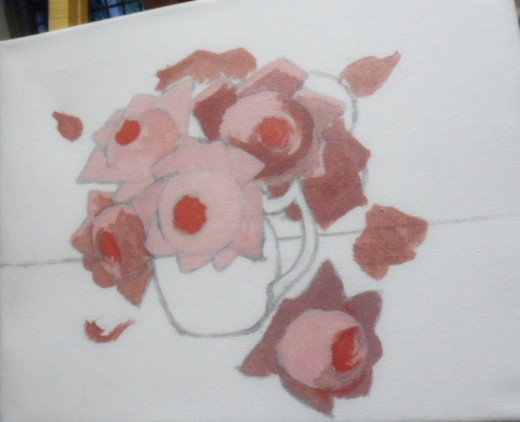 Centers of Roses Filled in with Light Red