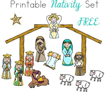 Inventive image within free printable nativity scene