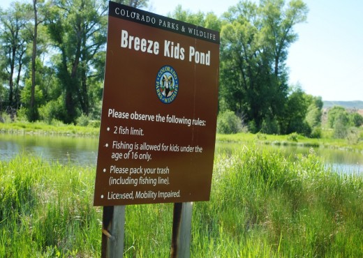The Breeze Pond is located just a half mile west of Parshall, Colorado, on Highway 40 at mile marker 196.