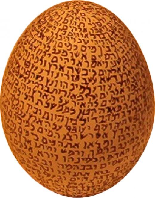 Genesis chapter one written in Hebrew on an egg