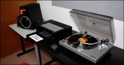 The evolution of LPs and record players. This is a turntable that plays lp's until one's heart is content