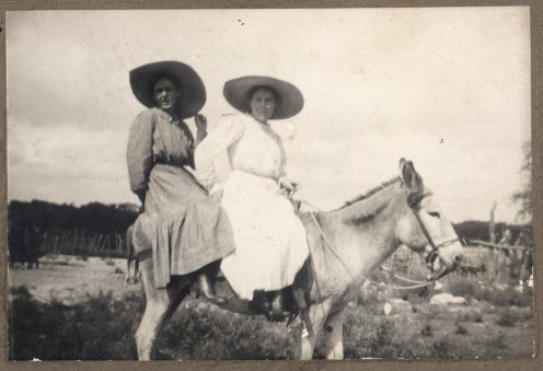 1907. Girl in front  is Winnie, the other is  Edna. I know this is  not bicycle related, but it  broke the monotony.