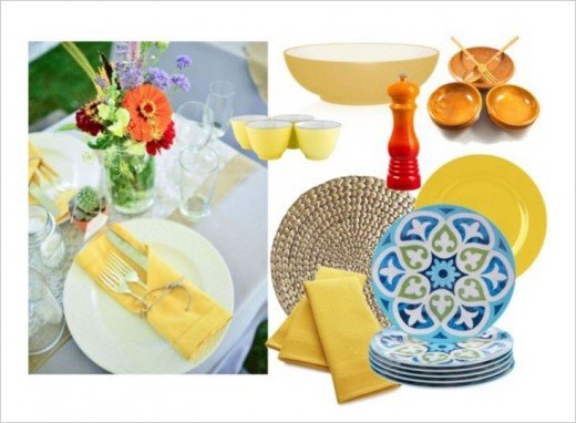 Blue yellow and a splash of orange exudes happiness!