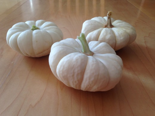Small white pumpkins.