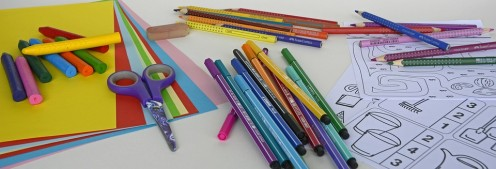 Student supplies needed for a lesson.