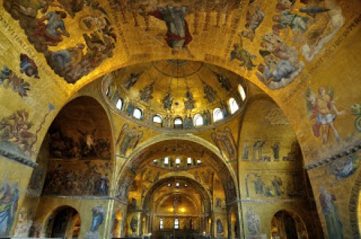 The stunning dome in St. Mark's Basilica, one of the world's finest examples of Byzantine architecture