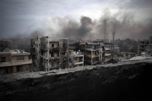 Aleppo, Syria, in ruins after years of shelling.