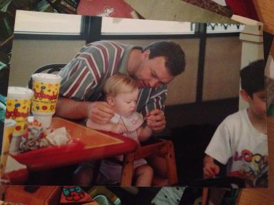Toddler Me casually munching some grub