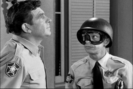 "To show ""Andy's"" ability to manipulate ""Barney,"" we all remember this episode where ""Barney"" buys a motorcycle  and uses it to help patrol  Highway 5, ""Check point chickee."" ""Andy"" cons ""Barney"" to give the cycle to a war memorial  in Mayberry"