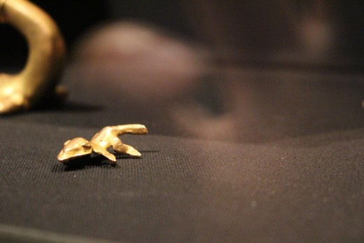 """""""Horned Lizard"""" Veraguas-Gran Chiriqui (Period V-VI, 700-1520 AD). Made of gold-and-copper alloy. Possible a salamander, my sources are still checking on that."""