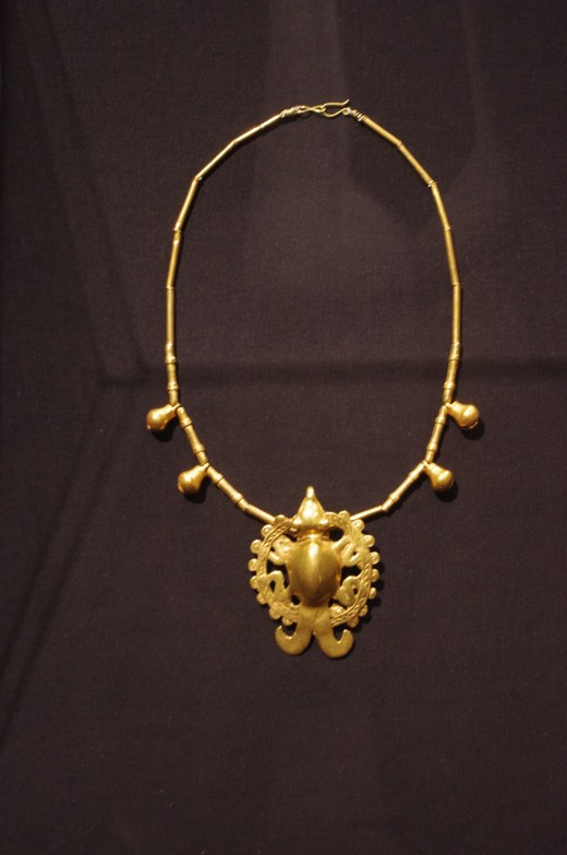 """""""Necklace with Shamanic Effigy Pendant"""" Veraguas-Gran Chiriqui (Period V-VI, 700-1520 A.D.). Made with cast gold alloy. """"He went to Jarrue's!"""""""