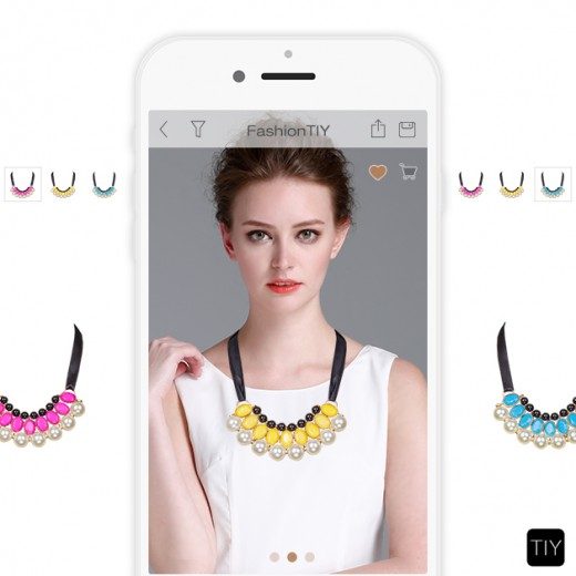 Woman swipes for accessories on FashionTIY app