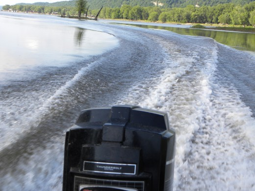 Boat motor's wake.
