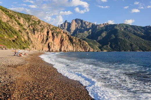 Bussaglia beach in Serriera, Southern Corsica, France