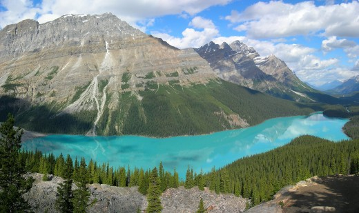 An attraction of Banff National Park in the Canadian province of Alberta: the turquoise Peyto Lake seen from a viewpoint at Icefields Parkway. This water colour is caused by glacier water, carrying what is often called 'rock flour' (tiny particles ca