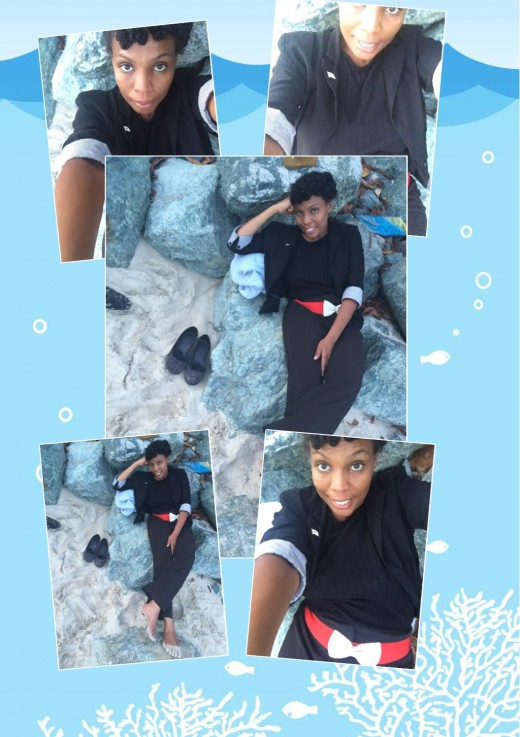Cooling on the beach rock.
