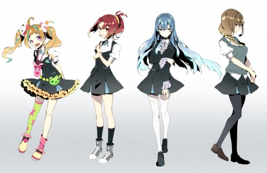 Kiznaiver: Niko, Chidori, Noriko, and Maki (Left to Right)