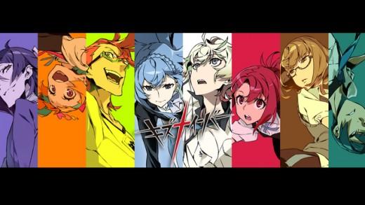 Kiznaiver: Hisomu, Niko, Tenga, Noriko, Katsuhira, Chidori, Maki, and, Yuta (Left to Right)