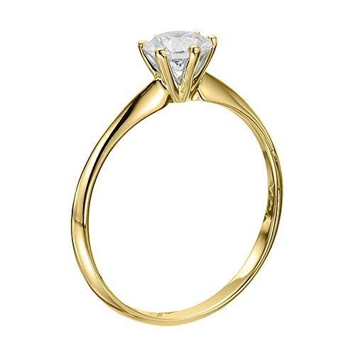 GIA Certified 14k yellow-gold Round Cut Diamond Engagement Ring.