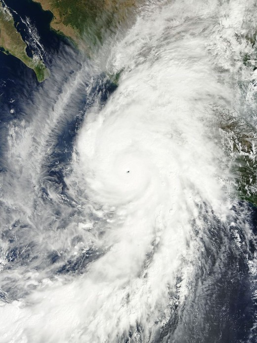 Hurricane Patricia, after its record peak intensity of 215 mph and record barometric pressure of 872 mb.