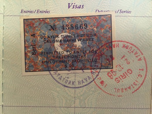 My Turkish travel visa, purchased at the border.