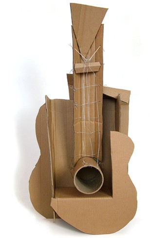 Guitar – 1912  Cardboard and string.  'Most radical change in sculpture since bronze casting' Shifting from mass to plane, from closed volume to open construction...building up the form from component parts.