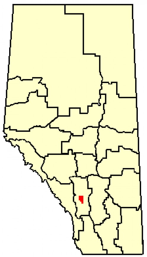 Map location of Calgary, Alberta