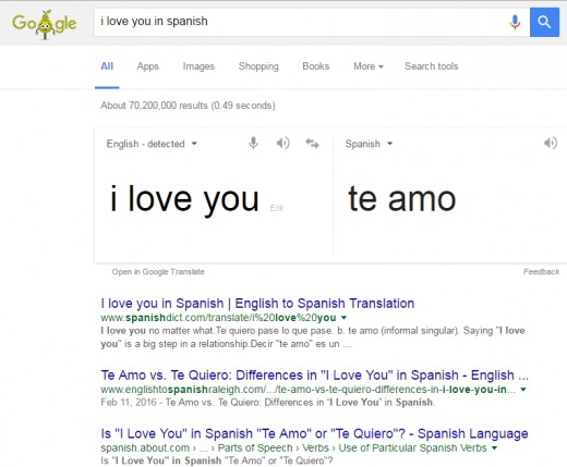 Translating from one language to another with Google search.