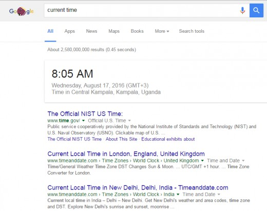 Get the current time with Google search.