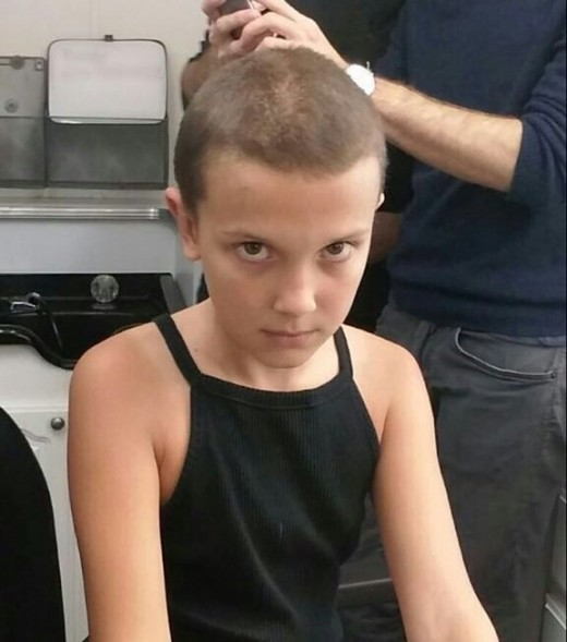 Millie Bobby Brown gets her head shaved for the role of Eleven on Stranger Things.