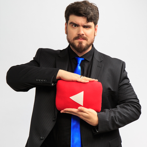 Rob Dyke, cuddling tenderly his new YouTube play button plush. He sleeps with it every night.