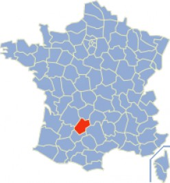 Map location of the Lot department of France, where Cahors is situated