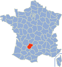 Map of the Lot department of France where Cahors is situated