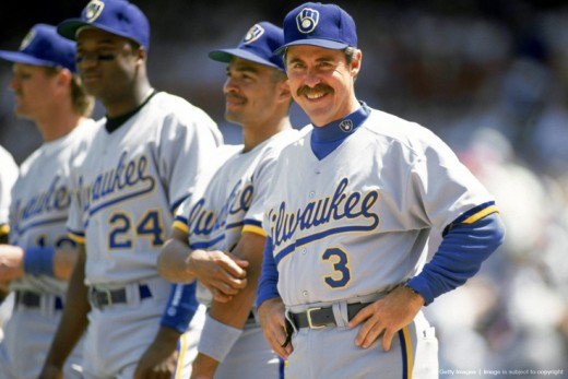 Phil Garner along with Pat Listach, Darryl Hamilton and Robin Yount in the early days of his managerial tenure.