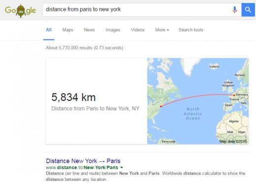 You can get the distance between two places in different continents.
