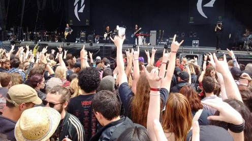 Festival-goers at Hellfest in Clisson, France - June 2016