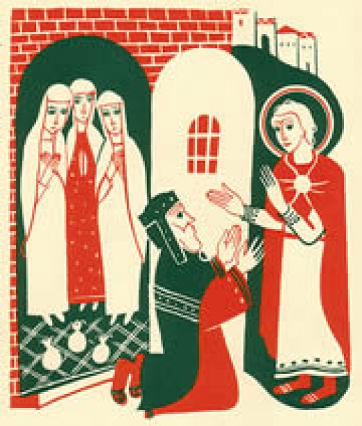 St Nicholas Giving Dowry Gold  Artist: Elisabeth Jvanovsky