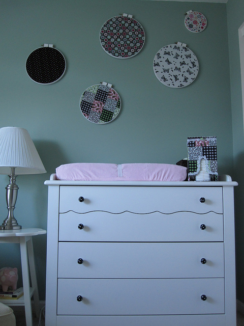 Dresser doing double-duty as a changing table!