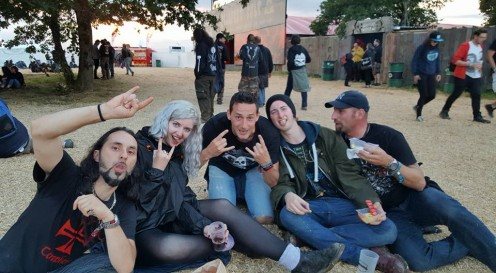 Group photo of some French guys we made friends with at Hellfest