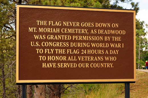 The US Flag flies 24 hours a day at Mt. Moriah Cemetery.