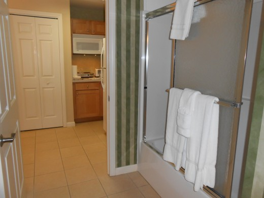 Bathroom at Vacation Village which is located between the kitchen and bedroom.