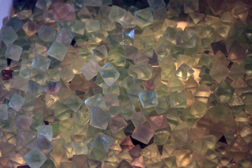 Lots of pretty pastel colored fluorite crystals