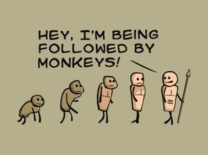 A jokey take on evolution a subject some Christians deny.