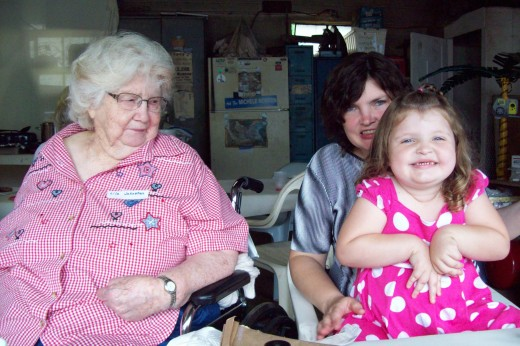 Aunt Lila with my daughter Sarah and my granddaughter Leah at a family reunion three years ago