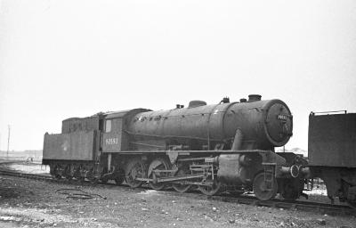 WD 2-8-0 90593 idles at Thornaby mpd in 1963, a year before the shed closed to steam when she was transferred across the river to West Hartlepool.(51C). In 1967 all steam locos still at the shed went for scrap .