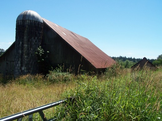 The rusty old barn on the farm in the Town of Memories