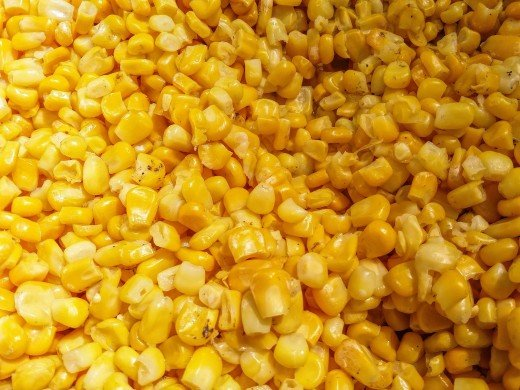 corn kernels stripped from the cob