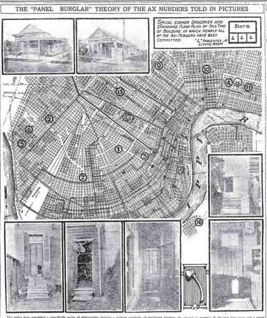 Illustrated map of axe murders in New Orleans, 1919.