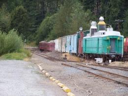 The railway cars.